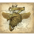 Vintage emblem with eagle head vector
