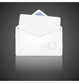 Open envelope with white paper vector