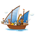 Animals on boat vector