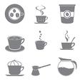 Set of beautiful gray icon coffee theme vector