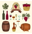 Set of wine icons elements and objects vector