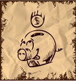 Money pig icon isolated on vintage background vector