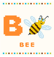 Alphabet for children letter b and a bee isolated vector