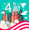 4 th july retro with american flag and city vector