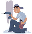 Handyman with an electric drill vector
