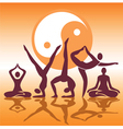 Yoga positions silhouettes vector