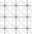 White geometric ornament with gray net seamless vector