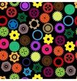 Seamless gear and cogwheel retro color vector
