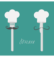 Two forks with big mustaches and chefs hats menu vector