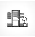 Black line icon for office door vector