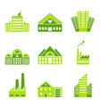 Set of green ecology factory icons vector