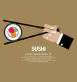 Chopsticks with sushi vector