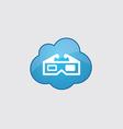 Blue cloud 3d movie icon vector