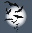 Halloween background - bats in full moon vector