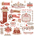 Set of christmas decorative elements vector