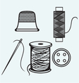 Spool with threads sewing button and thimble vector