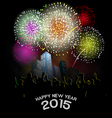 Happy new year with fireworks vector