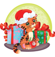 Adorable tiger-cub with christmas and new year gif vector