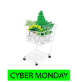 Green trees and plants in cyber monday shopping vector