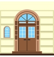 Flat of commerce building facade door vector