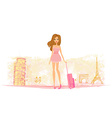Beauty travel girl vector