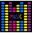 Colurful digital equalizer and word music card vector