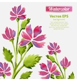 Watercolor flowers invitation pattern with ribbon vector