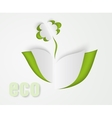 Flower and green leaves of paper vector
