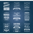 Denim jeans white typography labels vector