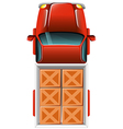 A topview of a delivery truck with tiles vector