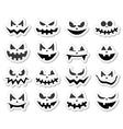 Scary halloween pumpkin faces icons set vector