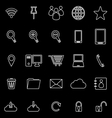 Internet line icons on black background vector