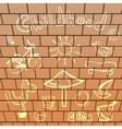 Elements playground hand-drawn on brick wall vector