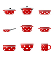 Set of icons of red cookware in white point vector