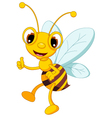 Funny bee cartoon thumb up vector