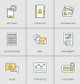 Set of modern thin line icons settings contacts vector