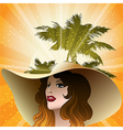 The girl in a beach hat vector