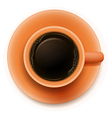 An orange cup with a coffee vector