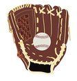 Baseball glove and ball vector