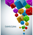 Colorful 3d cubes background with copy space vector