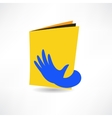 Hand on the book icon vector