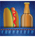 Hot dog and beer vector