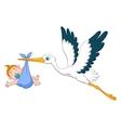 Stork with baby boy cartoon vector