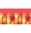 Hands in the crowd horizontal seamless pattern vector