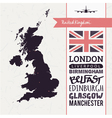 Set with map text flag plane uk vector