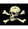 Evil skull with bones warning sign vector