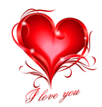 Red heart with i love you text vector