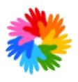Halftone colorful hand print icon vector