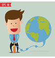 Cartoon business man pumping earth balloon - vector