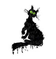 Halloween cat ink silhouette animal kitty isolated vector